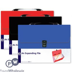 10 POCKET EXPANDING FILE 3 ASSORTED COLOURS