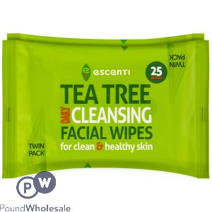 ESCENTI TEA TREE CLEANSING FACIAL WIPES