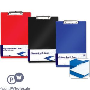 A4 CLIPBOARD WITH COVER ASSORTED COLOURS