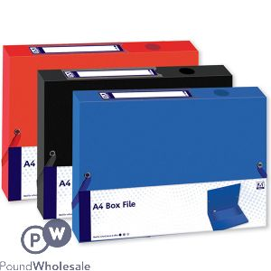 A4 BOX FILE ELASTIC CORNERS 3 ASSORTED COLOURS