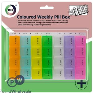 DID COLOURED WEEKLY PILL BOX