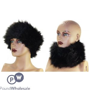LADIES FASHION FAUX FUR HEADBAND - BLACK