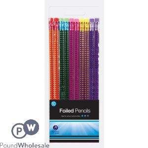 FOILED HOLOGRAPHIC HB PENCILS ASSORTED COLOURS 10 PACK