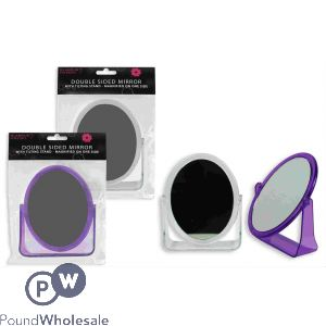 GLAMOUR ESSENTIALS DOUBLE SIDED COSMETIC MIRROR WITH TILTING STAND CDU 2 ASSORTED COLOURS