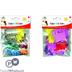 KIDS CREATE FOAM STICKERS ASSORTED COLOURS & SHAPES