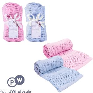 FIRST STEPS SOFT PURE COTTON CELLULAR BLANKET ASSORTED COLOURS