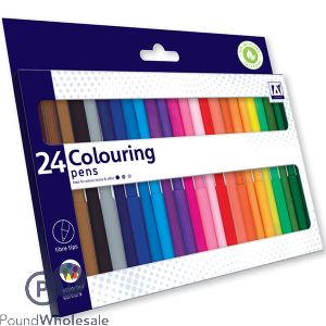 FIBRETIP COLOURING PENS SET ASSORTED COLOURS 24 PACK