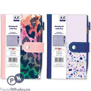 DESIGNER COLLECTION NOTEBOOK WITH PEN 2 ASSORTED