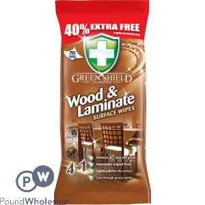 GREENSHIELD WOOD & LAMINATE WIPES 70 SHEETS