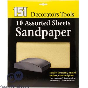 151 ASSORTED SANDPAPER SHEETS 10 PACK