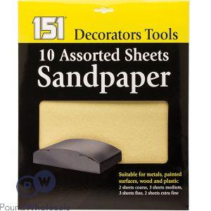 151 ASSORTED SANDPAPER SHEETS 10 PACK