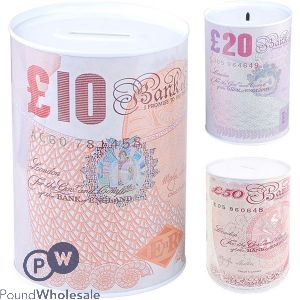SMALL MONEY TIN ASSORTED £10, £20 £50 (10CM X 15CM)