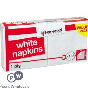 1 PLY WHITE NAPKINS 30CM 125PC