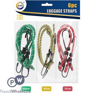 DID LUGGAGE STRAPS ASSORTED COLOURS 6PC