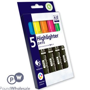 HIGHLIGHTER PENS ASSORTED COLOURS 5 PACK