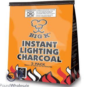 BIG K INSTANT LIGHTING CHARCOAL 1KG 2 PACK