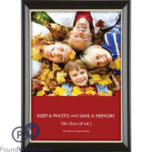 "PHOTO FRAME BROWN BEZEL WITH GOLD INNER LINING 4""X6"" (10X15CM)"