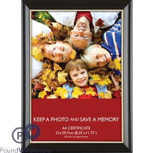 PHOTO FRAME BROWN BEZEL WITH GOLD INNER LINING A4 CERTIFICATE (21X29.7CM)