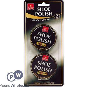 ASSORTED BLACK & BROWN SHOE POLISH TINS 2PK