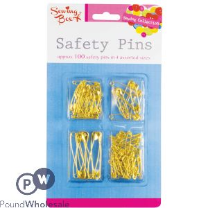 SEWING BOX GOLD SAFETY PINS ASSORTED SIZES 100PC