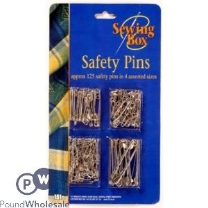 SEWING BOX SILVER SAFETY PINS ASSORTED SIZES 100PK