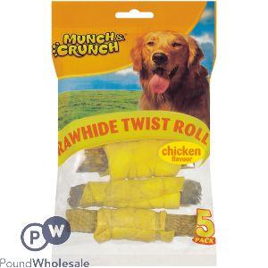 MUNCH & CRUNCH RAWHIDE TWIST ROLL CHICKEN FLAVOUR 5 PACK