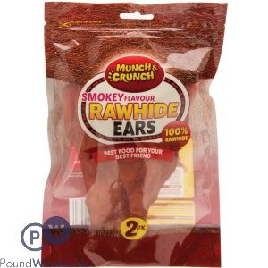 MUNCH & CRUNCH RAWHIDE EARS SMOKEY FLAVOUR 2 PACK