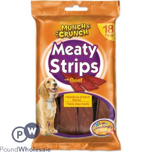 MUNCH & CRUNCH MEATY STRIPS BEEF 18 PACK
