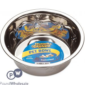 MUNCH & CRUNCH METAL PET BOWL 21CM