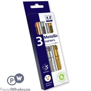 METALLIC MARKERS ASSORTED COLOURS 3 PACK