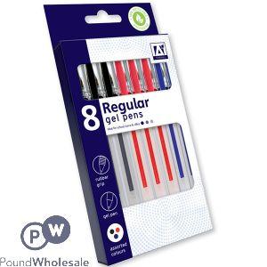 REGULAR GEL PENS BLACK, RED & BLUE 8 PACK