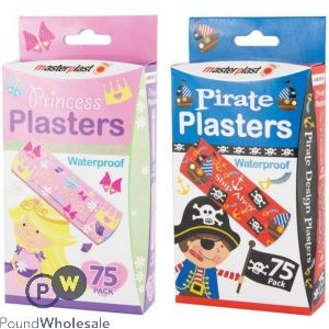 75PK PIRATE & PRINCESS PLASTERS