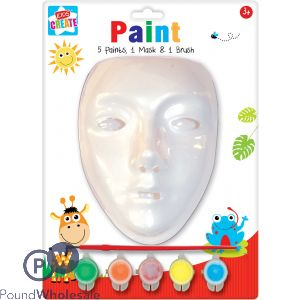 PAINT YOUR OWN MASK INCLUDES 5 PAINTS, 1 MASK & 1 BRUSH