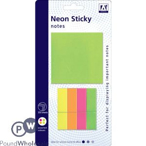 NEON STICKY NOTES ASSORTED SIZES AND COLOURS