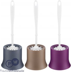 TRENDY TOILET BRUSH AND HOLDER 3 ASSORTED COLOURS