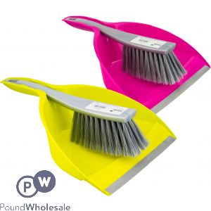 TRENDY DUSTPAN AND BRUSH ASSORTED COLOURS