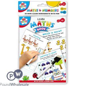 KIDS CREATE MATHS & NUMBERS 20 WIPE CLEAN WORK SHEETS
