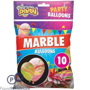 TIME TO PARTY MARBLE PARTY BALLOONS 10 PACK
