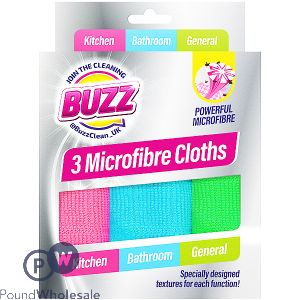 BUZZ MICROFIBRE CLOTHS 3 PACK