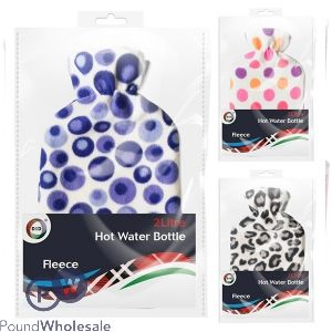 HOT WATER BOTTLE & COVER ASSORTED 2L