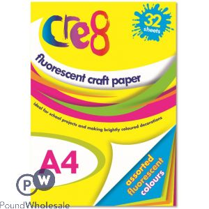 CRE8 A4 ASSORTED COLOUR FLUORESCENT CRAFT PAPER
