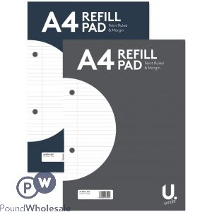 U, A4 RULED PAPER REFILL PAD 2 ASSORTED COLOURS