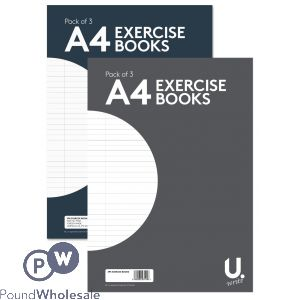 U. A4 EXERCISE BOOKS 3 PACK