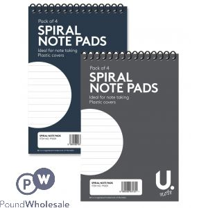 "U. SPIRAL NOTE PADS 2 ASSORTED COLOURS 6"" X 4"" 4 PACK"