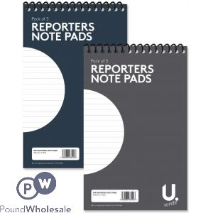 "3PK REPORTERS PADS 5""X8"" 2 ASSORTED COLOURS"