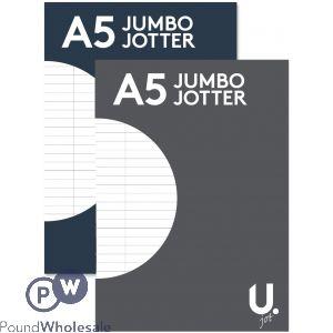 U. A5 JUMBO JOTTER 2 ASSORTED COLOURS