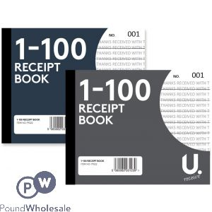 RECEIPT BOOK 1-100 PAGES 2 ASSORTED COLOURS