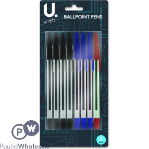 U. BALLPOINT PENS ASSORTED COLOURS 8PK