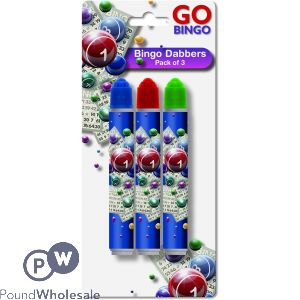 GO BINGO BINGO DABBERS ASSORTED COLOURS 3 PACK