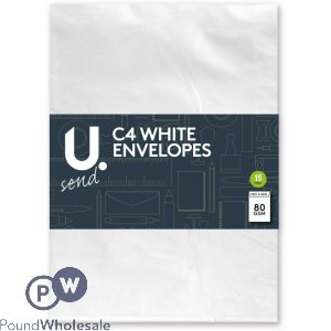 15 PACK PEEL AND SEAL 80GSM C4 WHITE ENVELOPES